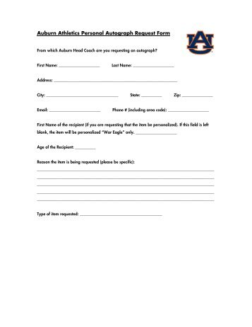 Auburn Athletics Non-Profit Autograph Request Form - Auburntigers