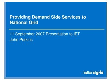 Providing Demand Side Services to National Grid