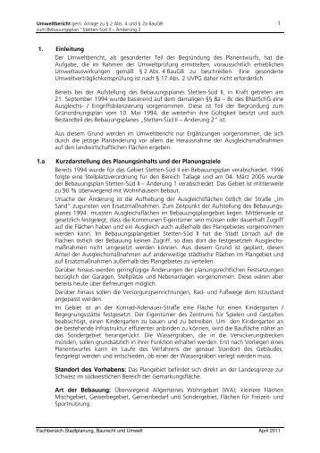 1 1. Einleitung Der Umweltbericht, als gesonderter ... - n-komm GmbH