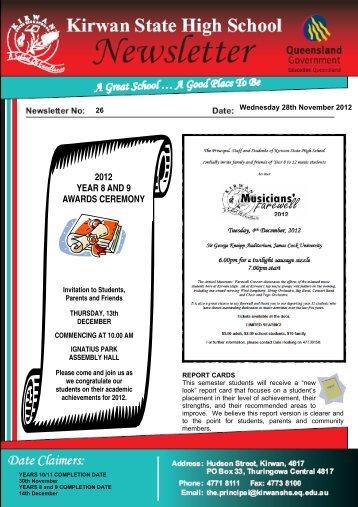 Newsletter 26.pub - Kirwan State High School