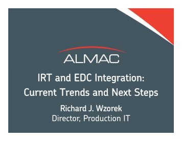 IRT and EDC Integration: Current Trends and Next Steps - Almac