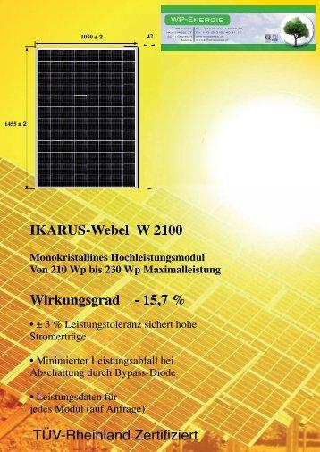 IKARUS-Webel W 2100 Wirkungsgrad - 15,7 % TÜV ... - WP - Energie