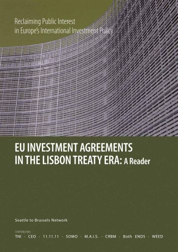 Investment Agreements In The Lisbon Treaty Era A