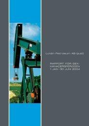 Report för Sexmånadersperioden 2004 - Lundin Petroleum
