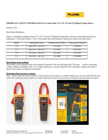 IMPORTANT SAFETY INFORMATION for Certain Fluke 373, 374 ...