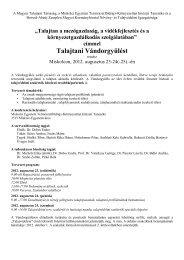 A Magyar Talajtani Társaság, az MTA Talajtani és Agrokémiai ...