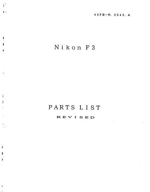 Nikon F3 Parts Manual