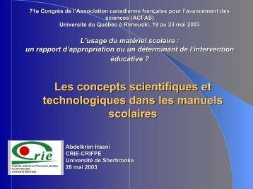 Les concepts scientifiques et technologiques dans les manuels ...