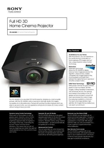 Full HD 3D Home Cinema Projector – Projectors ... - Projector Central