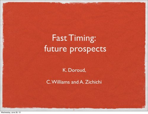 Fast Timing: future prospects