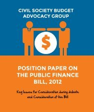 2014 CSBAG POSITION PAPER ON THE PUBLIC FINANCE BILL, 2012