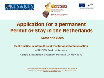 Application for a Permit of Stay in the Netherlands - e-SPICES