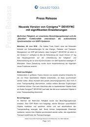 Press Release Neueste Version von Conigma ... - Galileo Group AG