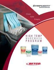 Symplicity High Temp Warewash Brochure - Betco Corporation