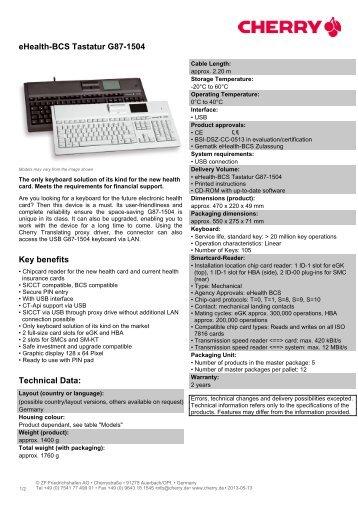 eHealth-BCS Tastatur G87-1504 - Cherry