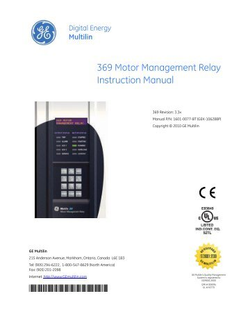 multilin 469 motor management relay ge digital energy rh yumpu com GE Control Relays ABB Relays Manuals