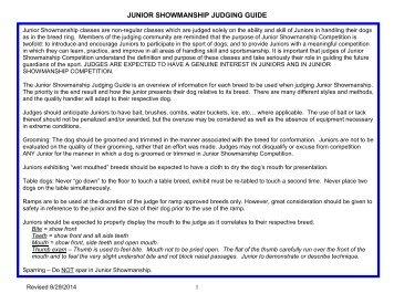 Junior Showmanship Showmanship Judging Guide