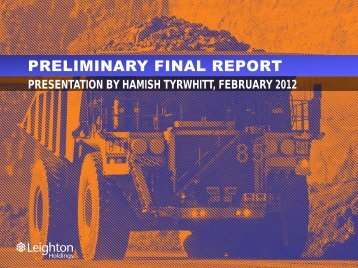PRELIMINARY FINAL REPORT - Leighton Holdings