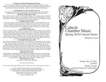May 16, 2010 - Caltech Performing and Visual Arts