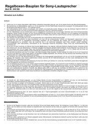 Regalboxen-Bauplan für Sony-Lautsprecher