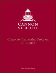 Corporate Partnership Program 2012-2013 - Cannon School