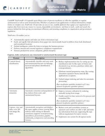TeleForm v10 Features and Benefits Matrix - Alcom System AB