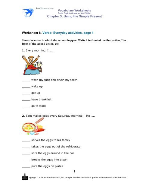 Chapter 3: Using The Simple Present Worksheet 8. Verbs: Everyday