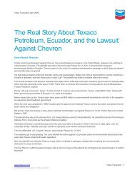 The Real Story About Texaco Petroleum, Ecuador, and ... - Chevron