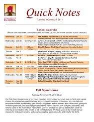 School Calendar Fall Open House - Community School