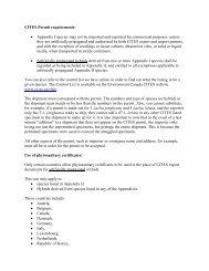 CITES Permit requirements: • Appendix I species may not be ...