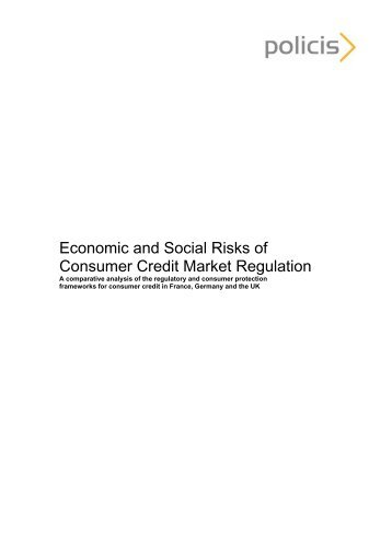 Economic and Social Risks of Consumer Credit Market ... - Policis