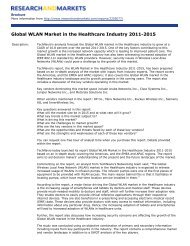 Global WLAN Market in the Healthcare Industry 2011-2015