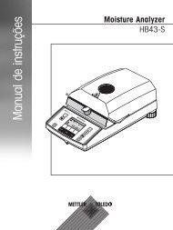 Manual de instruções Moisture Analyzer HB43-S - METTLER TOLEDO