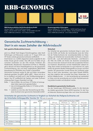 RBB-Genomics - Rinderproduktion Berlin-Brandenburg GmbH