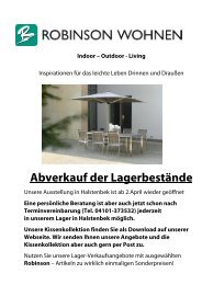 Angebote Lagerverkauf Aluminium und Edelstahl - Robinson Wohnen