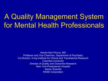 A Quality Management System for Mental Health Professionals
