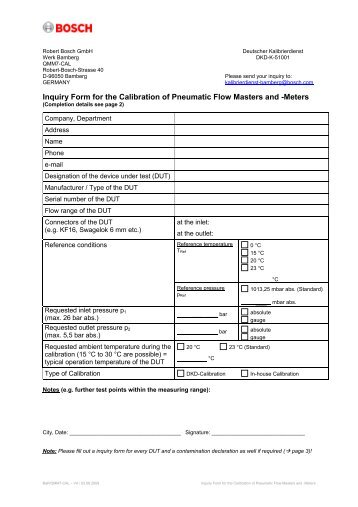 Inquiry Form for the Calibr. of Pneumatic Flow Masters and Meters