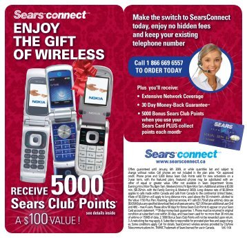 RECEIVE 5000 Sears ClubTM Points - Sears Connect
