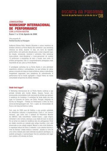 WORKSHOP INTERNACIONAL DE PERFORMANCE