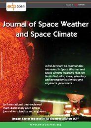 Leaflet (PDF) - Journal of Space Weather and Space Climate