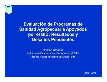 Romina Ordóñez. Evaluación de Programas de Sanidad ...