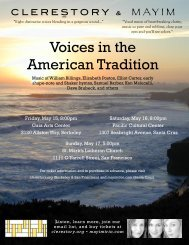Voices in the American Tradition program - Clerestory