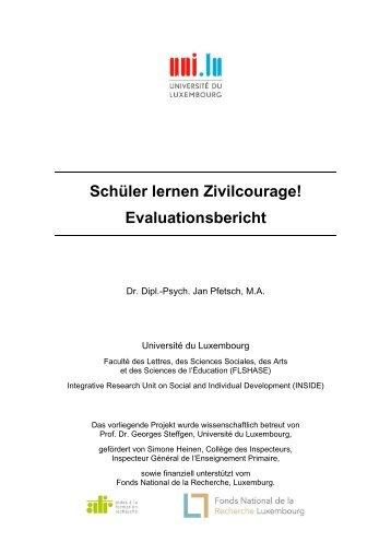 "Evaluation ""Schüler lernen Zivilcourage"