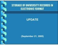 STORAGE OF UNIVERSITY RECORDS IN ELECTRONIC FORMAT ...
