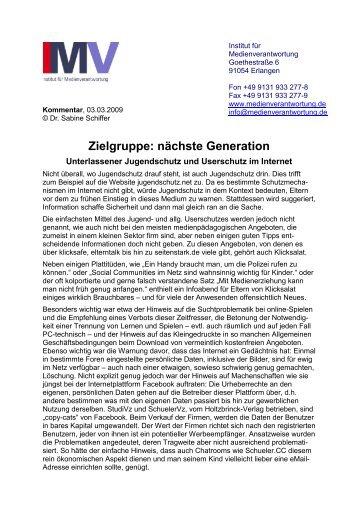 Unterlassender Jugendschutz und Userschutz im Internet
