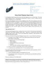 KING ISLAND SHIPPING GROUP - King Island Council