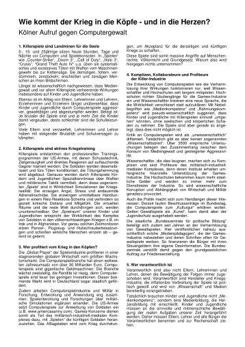 Kölner Aufruf gegen Mediengewalt  - Institut für Medienverantwortung
