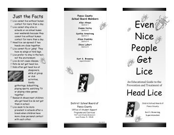 Sample letter- for' parents with child with head lice