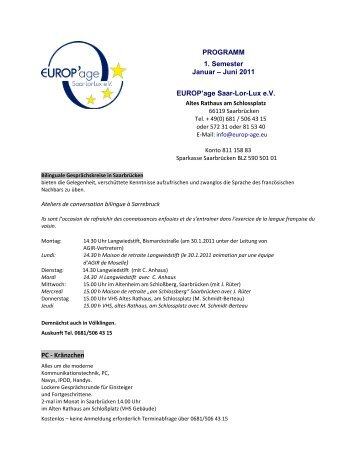 PROGRAMM 1. Semester Januar – Juni 2011 EUROP'age Saar-Lor ...