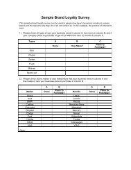 Sample Brand Loyalty Survey